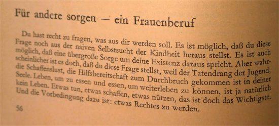 """Kapitel """"Für andere sorgen - ein Frauenberuf"""", Schaffensfreude Lebensfreude, Seite 56"""