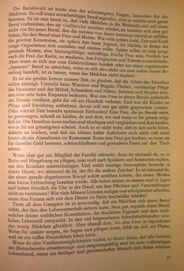 """Kapitel """"Für andere sorgen - ein Frauenberuf"""", Schaffensfreude Lebensfreude, Seite 57"""