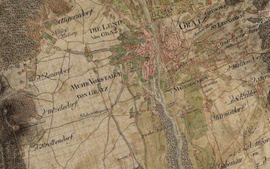 Graz in der Josephinischen Landaufnahme (via mapire.eu)
