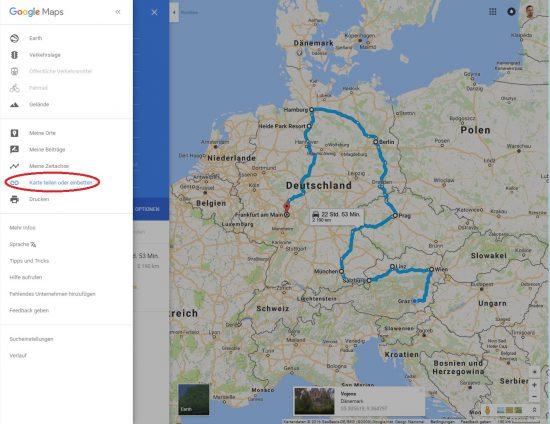 Routen teilen mit Google Maps