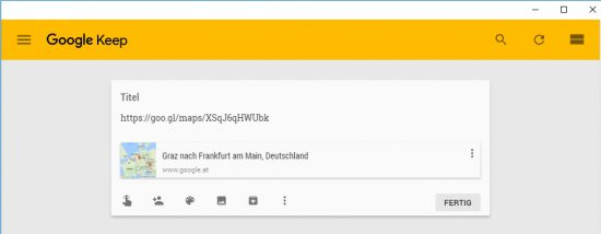 Route in Google Keep