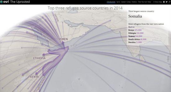"""Screenshot aus """"The Uprooted"""" des Esri Story Maps team (storymaps.arcgis.com/de/)"""