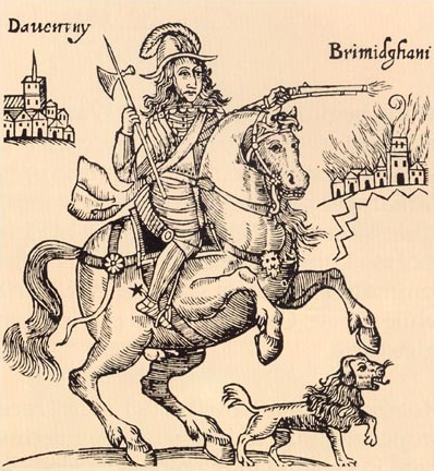 Ruprecht und sein Hund Boye, in einer Darstellung der Parlamentarischem Propaganda (wikimedia commons)