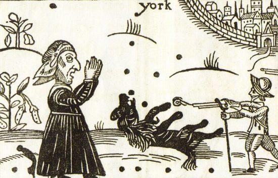 Der gefallene Pudel Boye (Holzschnitt / ca. 1644 / wikimedia commons)