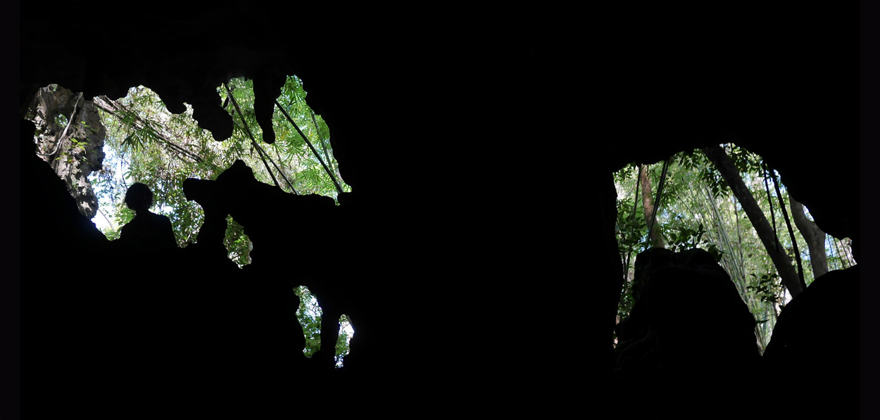 human shape on cave exit in thailand