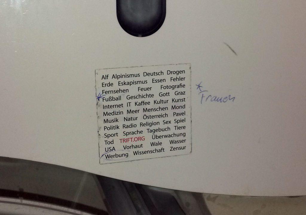 Trift Sticker am WC, Frauen
